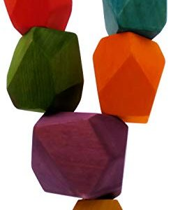 HandWoody Wooden Balancing Blocks Natural Handmade tumi ISHI for Home Decoration (Colored 6pc.)
