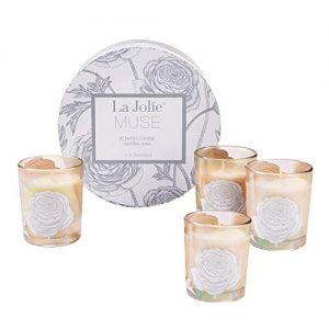 Scented Candles Gift Set – 4 Soy Candles Aromatherapy Candles Stress Relief, Small Votive Glass Decorative Candles, Birthday Candle Gifts for Women