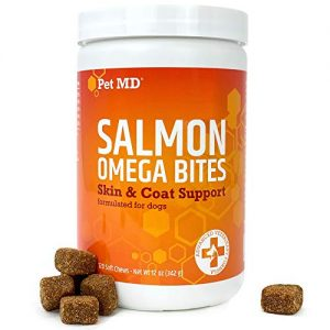 Pet MD Salmon Oil Omega 3 for Dogs – Advanced Allergy & Itch Relief for Dogs – Omega 3 & 6, EPA & DHA, Fish Oil Omega 3 Soft Chews – 120 Count