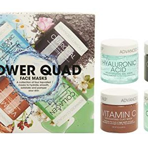 Advanced Clinicals Power Quad Face Masks Charcoal Mask, Vitamin C Mask, Collagen Mask, Hyaluronic Mask. 2oz each. Great gift set! (One Set)