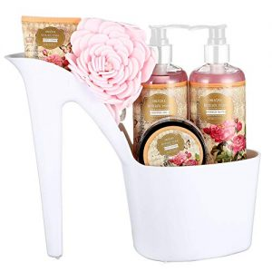 Draizee Rose Scented Home Spa Luxurious 4 Piece Relaxation with Lovely Fragrance Gift Basket Set for Women, Girlfriend (Heel Shoe) – #1 Best Mother's Day Gift for Mom, New Mother