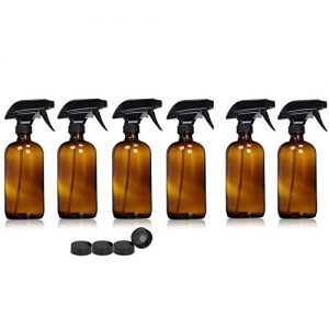 Nisorpa 16oz Amber Glass Spray Bottles 6 Pack 500ML Refillable Essential Oils Container with Trigger Sprayer Mist and Stream Settings for Aromatherapy Cleaning Products