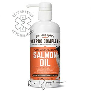 VetPro Complete 100% Pure Wild Alaskan Salmon Oil for Dog & Cat Food – Large 16 oz – Omega 3 & 6 Liquid Fish Oil Supplement – Supports Healthy Coat & Joints – Helps Dry Skin & Allergies