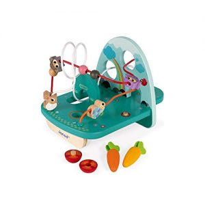 Janod Rabbit & Co Looping W/Color Matching, Activity Center Learning Toy for Boys and Girls – Counting, Concentration, Shape Recognition and Motor Skills for Ages 18+ Months