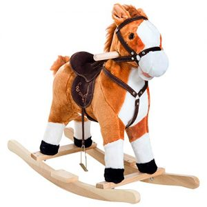 Qaba Kids Plush Toy Rocking Horse Ride on with Realistic Sounds – Brown