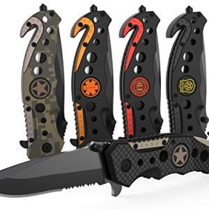 3-in-1 Carbon Fiber Tactical Knife for Emergency First Responders with Glass Breaker, Seatbelt Cutter and Steel Serrated Blade