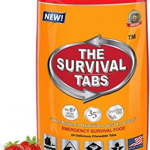 Survival Tabs 2 Day 24 Tabs Emergency Food Survival Food Meal Replacement MREs Gluten Free and Non-GMO 25 Years Shelf Life Long Term Food Storage – Strawberry Flavor