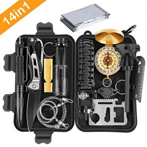 Gifts for Men Dad Husband boyfriend him,survival gear,Emergency Survival Kits 14 in 1,Cool Birthday gifts,tactical gear,Fishing Hunting Hiking Camping Gear