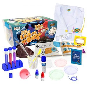 Learn & Climb Kids Science Kit with Lab Coat – Over 20 Science Experiments. Ages 4+ ( Color of Lab Coat Buttons May Vary)