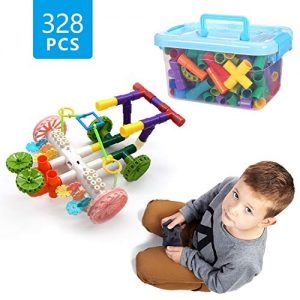 Senhui Pipe Building Blocks, 328 pieces, Remote Control, Electronic, Rechargeable, Pipes & Joints Building Blocks Construction Sets, Construction Toys with Wheels, Parts, USB Cable for Kids Boys Girls