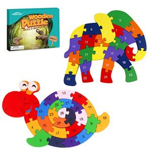 Monilon Wooden Blocks, 52 Pcs Kids Toys Alphabets & Numbers Winding Snail & Elephant Jigsaw Puzzle – Preschool Learning Educational Toy Set Gifts Toy for Kids 3 4 5 6 + Years Old Toddlers Boys Girls