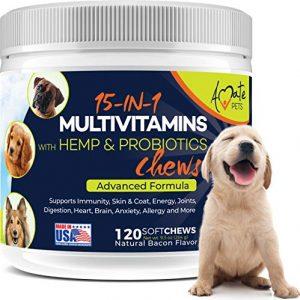 15-in-1 Dog Vitamins – Chewable Multivitamins for Dogs with Probiotics, Hemp and Omega – Hip & Joint Supplements, Immune Support and Healthy Dog Skin – 120 Soft Chews Treats by Amate Pets
