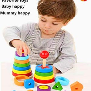 MOSY Wooden Educational Toys 1-4 Years Old boy Girl Toddler Shape Matching Geometric Block Classification and Stacking Toys Parent-Child Interaction Montessori Preschool Toys Best Travel Toy