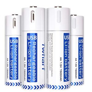 USB Rechargeable Batteries 1.5V/1500mAh Lithium Ion AA Battery with 4-in-1 Micro USB Charging Cable 1.5h Quick-Charge Built-in Integrated Safety Circuit Protection Double A Batteries(4 Pack)