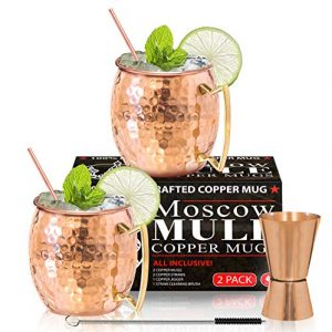 Moscow Mule Copper Mugs – Set of 2-100% HANDCRAFTED – Food Safe Pure Solid Copper Mugs – 16 oz Gift Set with BONUS: Highest Quality Cocktail Copper Straws, Straw Cleaning Brush and Jigger!