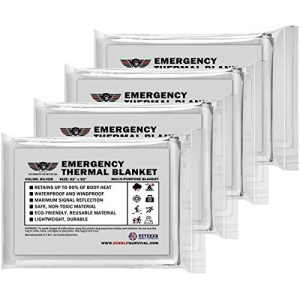 EVERLIT Emergency Thermal Blankets, Space Blankets (4-Pack), Survival Blankets, First Aid Kit Camping Hiking Mylar Blanket Perfect for Outdoor, Disasters, Emergency.