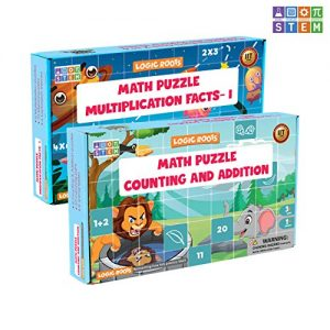 LogicRoots 12 Math Puzzles (7-12 Pieces Each) – 6 Number Counting & Addition Puzzle | 6 Multiplication Puzzles (Gift Learning Puzzle Toy for Kids, Girls & Boys – Best for 2,3,4,5,6, and 7 yr)