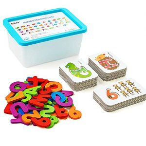 LiKee Alphabet and Number Flash Cards Wooden Jigsaw Puzzle Peg Board Set Preschool Educational Montessori Toys for Toddlers Kids Boys Girls 3+ Years Old (36 Cards and 37 Wooden Blocks)