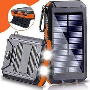 Solar Power Bank 20,000mAh – Matilda One Stop Shop | 2.1A Dual Output USB | Waterproof External Battery Pack | Dual Flashlight | Compass | Shockproof | Solar Panel Charging | DC5V