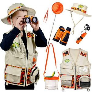 Safari Kidz Outdoor Adventure Set. Perfect Safari, Christmas, Hunting, Park Ranger Costume with Vest, Hat, Binoculars, Bug Net, Bug Container, Whistle, Flashlight, Magnifying Glass, Tweezers