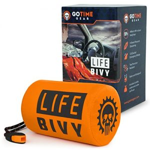 Go Time Gear Life Bivy Emergency Sleeping Bag Thermal Bivvy – Use as Emergency Bivy Sack, Survival Sleeping Bag, Mylar Emergency Blanket – Includes Stuff Sack with Survival Whistle + Paracord String