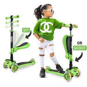 3 Wheeled Scooter for Kids – Stand & Cruise Child/Toddlers Toy Folding Kick Scooters w/Adjustable Height, Anti-Slip Deck, Flashing Wheel Lights, for Boys/Girls 2-12 Year Old