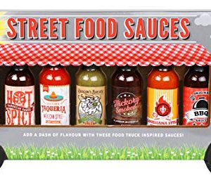Thoughtfully Gifts, Street Food Sauces, Hot Sauce and BBQ Gift Set, 1.7 Ounces Each, Flavors Include: Diablo Wings Sauce, Mexican Style, Lousiana Style Wing, Original BBQ and More!