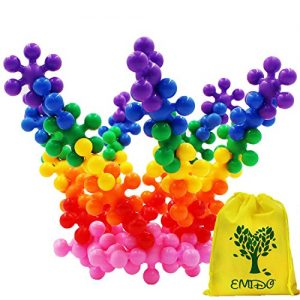EMIDO Building Blocks Kids Educational Toys STEM Toys Building Discs Sets Interlocking Solid Plastic for Preschool Kids Boys and Girls, Safe Material for Kids – 120 Pieces with Storage Bag