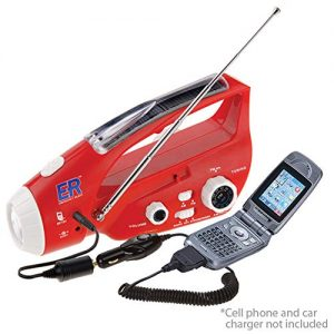 ER Emergency Ready 6N Solar/Hand-Crank Powered Emergency LED Flashlight and AM/FM Radio, Red