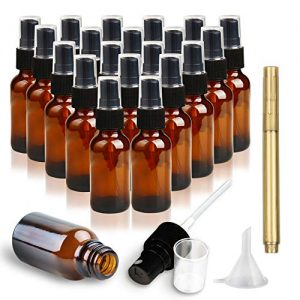 RUCKAE,1 oz (30ml) Amber Glass Spray Bottles-20 Piece Set – With Funnel and Gold Pen,Black Fine Mist Sprayers