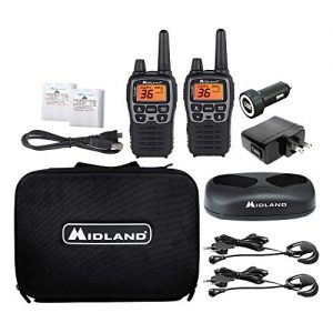 Midland – X-TALKER T77VP5, 36 Channel FRS Two-Way Radio – Up to 38 Mile Range Walkie Talkie, 121 Privacy Codes, and NOAA Weather Scan + Alert (Includes a Carrying Case and Headsets) (Black/Silver)