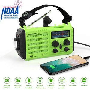 Weather Alert Radio Emergency Digital 5-Way Powered AM/FM/SW/NOAA Weather Radio/Hand Crank/USB/Flashlight,Smartphone Charger, Reading Lamp, 2000 mAh Power Bank USB Phone Charger, SOS Alarm and Compass