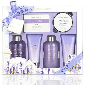 Bath and Body Gift Set – Luxurious 6 Pcs Bath Kit for Women, Body & Earth Spa Set with Lavender Scent – Bubble Bath, Shower Gel, Hand & Face Cream, Body Lotion, Perfect Gift Box for Women