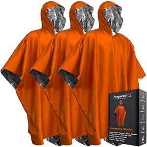Emergency Blanket Poncho – Keeps You and Your Gear Dry and Warm During Camping Hiking or any Outdoor Activity   Thermal Mylar Space Blanket Rain Ponchos to Keep You Prepared to Survive   3 Pack