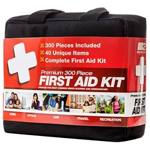 M2 BASICS 300 Piece (40 Unique Items) First Aid Kit | Free First Aid Guide | Emergency Medical Supply | for Home, Office, Outdoors, Car, Survival, Workplace