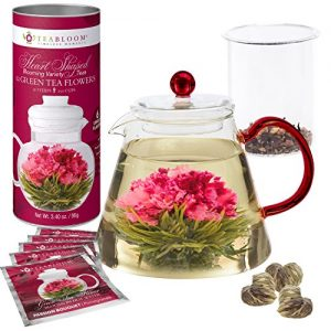 Teabloom AMORE Flowering Tea Gift Set – Stovetop Safe Glass Teapot with Removable Loose Leaf Tea Glass Infuser (34 oz) – 12 Heart-Shaped Blooming Tea Flowers Included