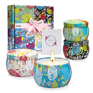 Scented Candles Gifts for Birthday, Relaxation Aromatherapy Candle Gift Set for Women on Festivals, Wedding, Party (4 Pack)