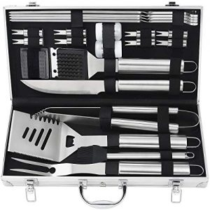 POLIGO 22pcs Barbecue Grill Utensils Kit Stainless Steel BBQ Grill Tools Set – Camping Grill Accessories in Aluminum Case for Christmas Birthday Presents – Ideal Outdoor Grilling Gifts Set for Dad Men