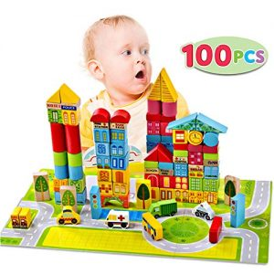 Liberty Imports 100 Piece Wooden City Building Blocks Variety Set | Bright Colored Natural Wood Kids Stacking Toy with Playscape in Storage Bucket