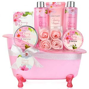 Bath Set for Women – Body&Earth 8 Pcs Gift Basket with Cherry Blossom & Jasmine Scent, Includes Bubble Bath, Shower Gel, Body & Hand Lotion, Bath Salts and More, Perfect Gifts Set for Home Relaxation