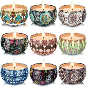 Set of 9 Small Scented Candles Soy Wax Aromatherapy Candles 2.2 OZ Portable Tin Candles with Lid, Relaxation Gifts Basket for Mother, Women, Friends and Coworkers