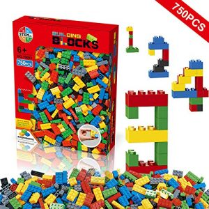 Building Blocks 750 Pieces Set, Building Bricks Creative DIY Interlocking Toy Set Random Colors Mixed Shape ABS Puzzle Construction Toys Set for Kids and Toddlers (750 PCS)