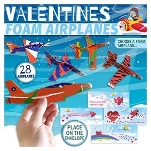 "Valentines Day Cards for Kids Boys Girls Children,7"" Foam Jet Fighter Gliders Pack 70Pcs – 28Pcs Easy Assembly DIY Airplanes with Envelopes,Flying Fun Toy Set,Treats for School Classroom,Party Favors"