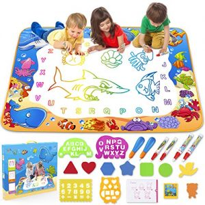 Toyk Aqua Magic Mat – Kids Painting Writing Doodle Board Toy – Color Doodle Drawing Mat Bring Pens Educational Toys for Age 3 4 5 6 7 8 9 10 11 12 Year Old Girls Boys Age Toddler Gift