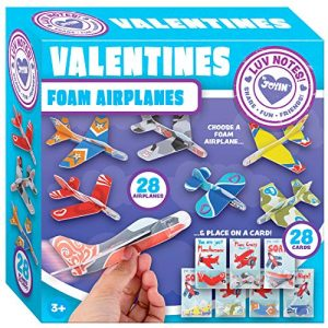 JOYIN 28 Pack Valentines Day Gifts Cards, Valentine's Greeting Cards for Kids with Foam Airplanes Valentine Classroom Exchange Party Favor Toy