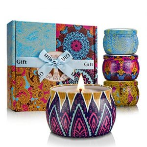 Scented Candles Gift Set for Women Aromatherapy Natural Soy Wax 4.4 Oz Portable Travel Tin Mother's Day Birthday Box Gift Basket