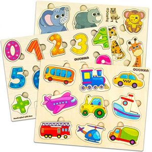 Quokka Wooden Puzzles for Toddlers 1 2 3 Year Olds, 3 Pack Puzzles, Kids and Babies Matching Game for Learning Numbers Vehicles Animal, Educational Wood Preschool Toys for Boys and Girls Ages 1-3