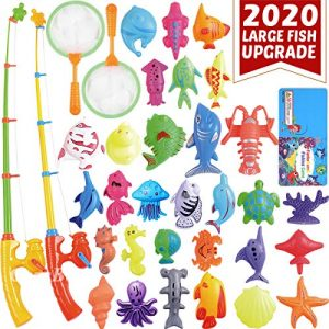 CozyBomB Magnetic Fishing Pool Toys Game for Kids – Water Table Bath-tub Kiddie Party Toy with Pole Rod Net Plastic Floating Fish Toddler Color Ocean Sea Animals Age 3 4 5 6 Year Old