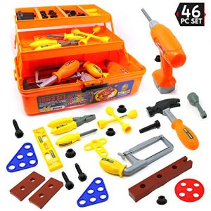 Big Mo's Toys Tool Box – Pretend Play Three Tier Educational Tool Kit for Kids Gift of All Ages – 46 Piece Set