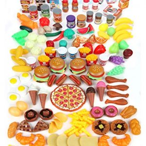 Mommy Please Play Food Set for Kids – Huge 202 Piece Pretend Food Toys is Perfect for Kitchen Sets and Play Food Kitchen Toys – Inspire Your Toddlers Imagination + 4 Bonus Water Bottles